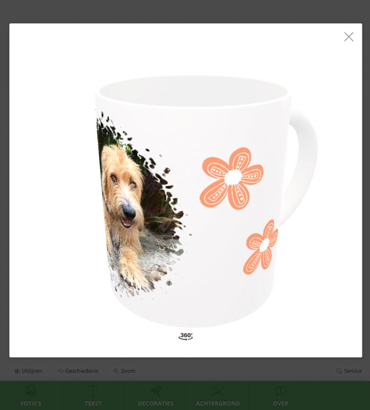 foto hond op koffiekop